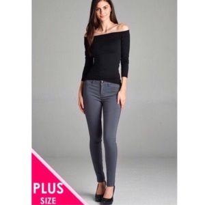Pants - Plus Size Charcoal Skinny Jeans